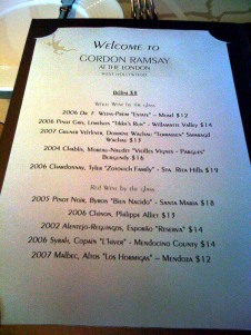 The wine list, mesdames et messieurs