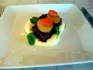 """Braised ox cheek with port wine, horseradish creamed potatoes, and glazed turnips"" - A little heavy on the horseradish, but otherwise tasty. You can't see the hair in this picture."
